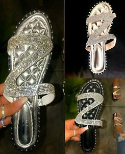 Women-039-s-Flat-Sandals-Rhinestone
