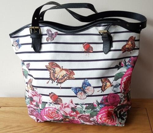 Einkaufstasche mit Schmetterling Rose Blumenmuster Kunst Leder