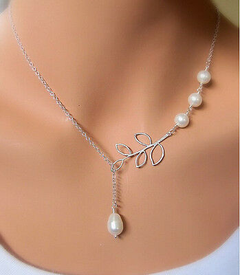 Exquisite Women's Party Jewelry Nice Silver Leaf Cute Pearl Charms Necklace