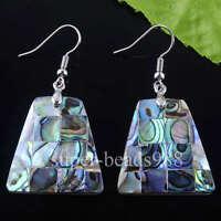 Free shipping New Zealand Abalone Shell Beads Dangle Earrings Pair SR364