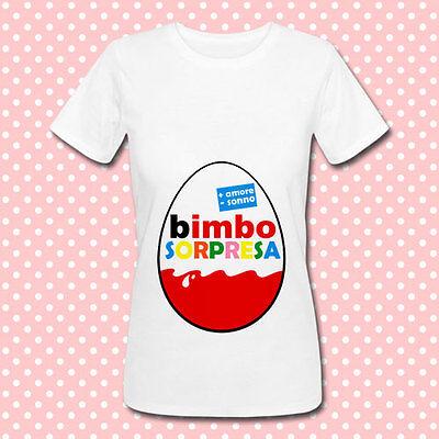 Manica Corta T-Shirt Maglia Premaman Donna Idea Regalo per Futura Mamma Bimbo Bimba Sorpresa