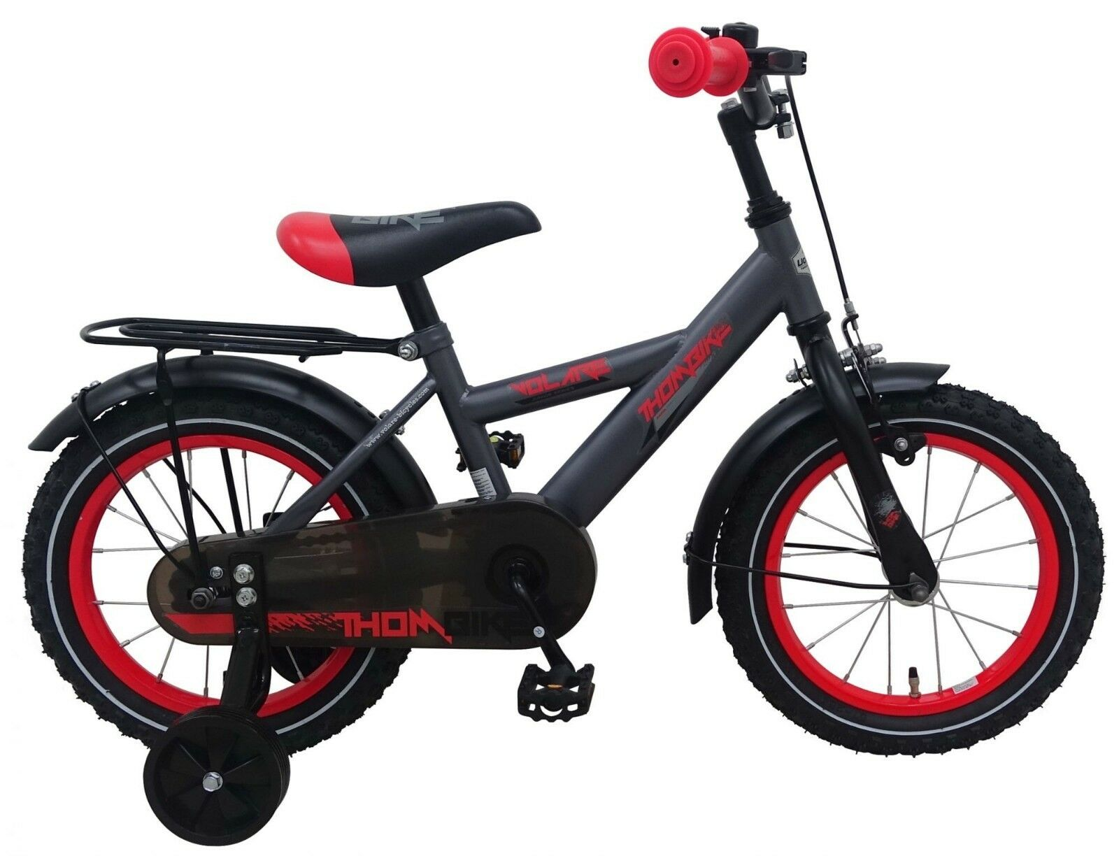 14 Zoll Fahrrad  Kinderfahrrad Jungen Kinder Stützräder Schwarz Rot