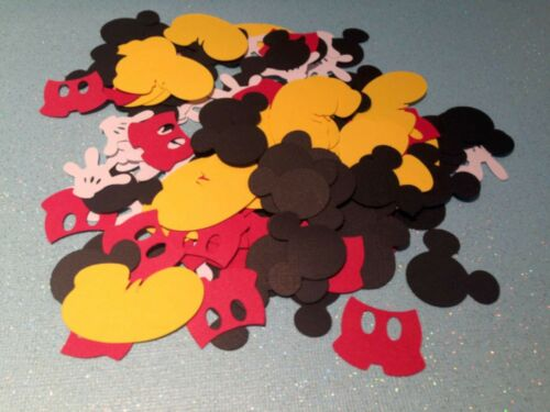 1000  MICKEY MOUSE CONFETTI BIRTHDAY PARTY DIE CUTS HEAD SHOES PANTS /& GLOVES