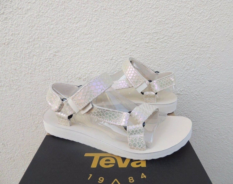 Teva Original Universal blancoo Irisado Cuero Sandalias De De De Tiras, EE. UU. 10 41  Nuevo En Caja  excelentes precios