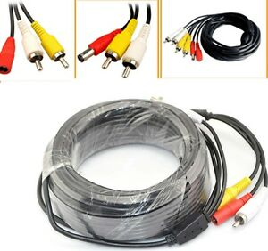 CCTV-Security-DVR-Camera-Phono-RCA-Video-Audio-AV-DC-Power-Cable-Lead-5m-to-50m