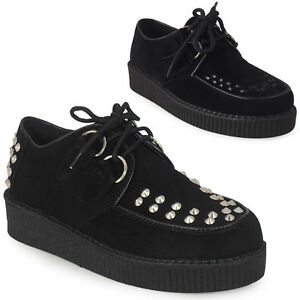 WOMENS-LADIES-LACE-UP-FAUX-SUEDE-PUNK-GOTH-HIGH-PLATFORM-FLAT-CREEPER-SHOES-3-8
