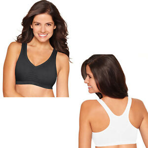 2a3406e059 Details about Hanes Women s Stretch Cotton Low-Impact Yoga Racerback Sports  Bras -2 Pack H570