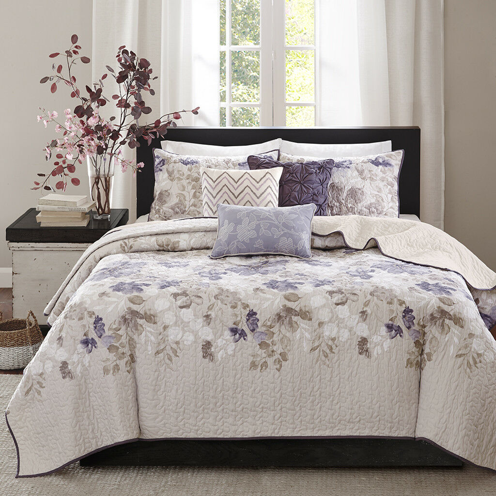 Beautiful lila Blau Quilted Floral Coverlet Bedspread Cal King Queen 6 pcs Set
