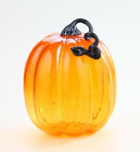 New Large 11 Hand Blown Art Glass Pumpkin Sculpture Fall Orange Harvest