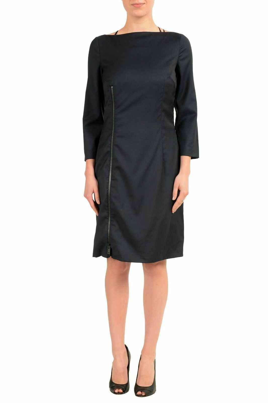 Maison Margiela 4 100% Wolle Schwarz 3 4 Damen Etuikleid S