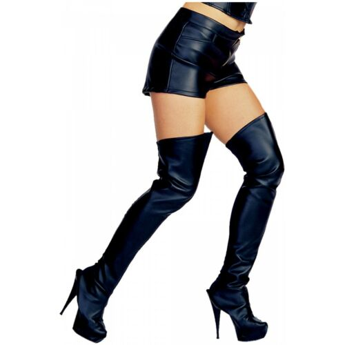 Leather Look Thigh High Boot Tops Biker Chick Female Superhero or Hooker Costume