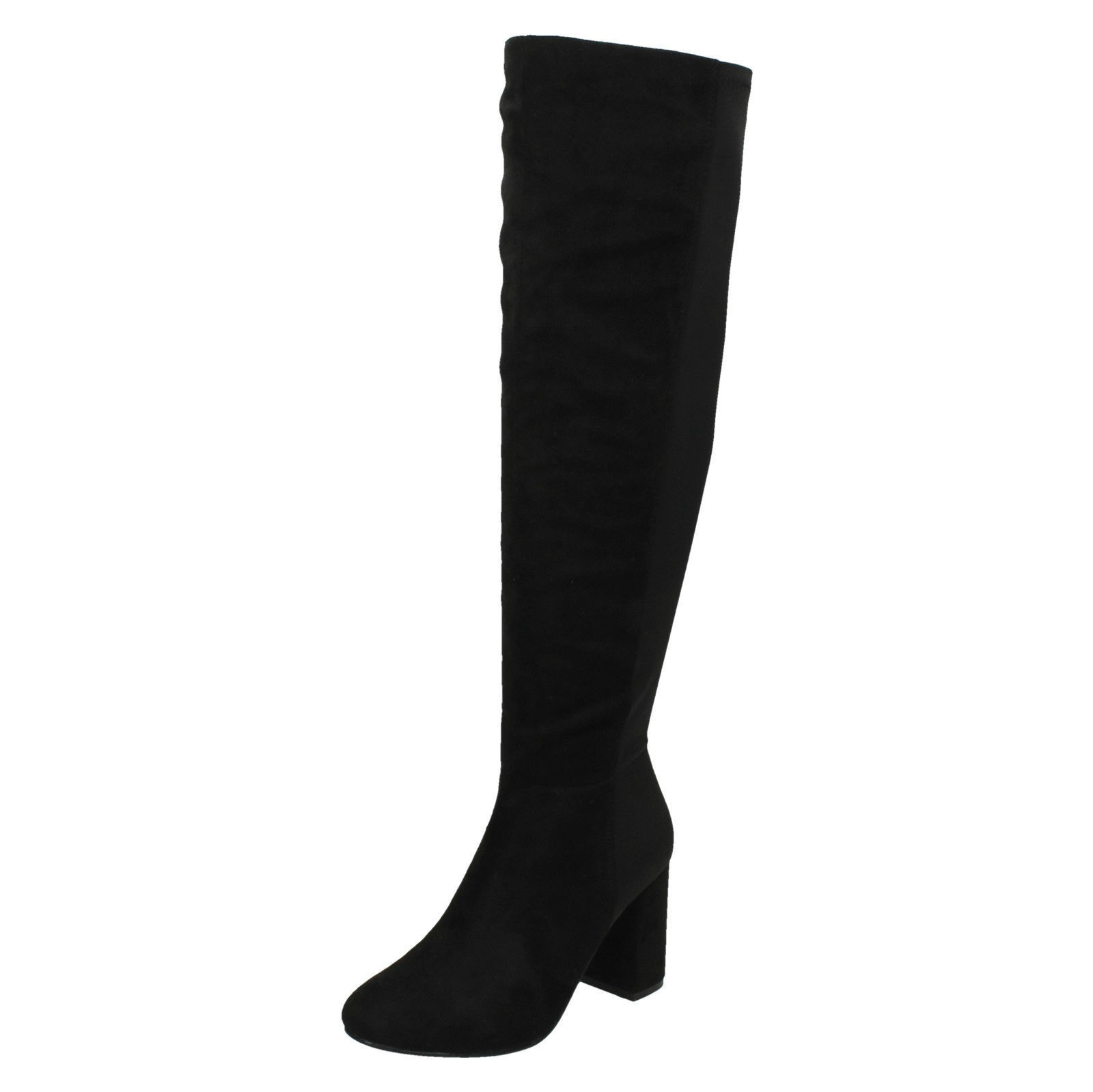Damen Spot On Reißverschluss Weites Bein Passform Dehnbar Hoher Absatz Knielange