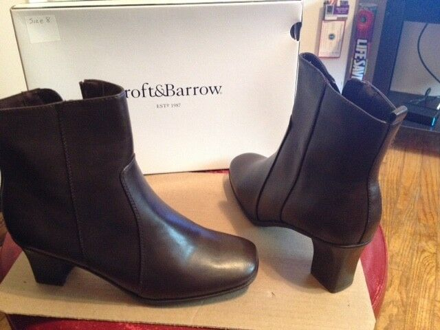 Womens Size 8 Croft & Barrow Jolene Brown Ankle Side Zip Casual Boots
