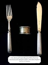White Star Line Fork Knife Napkin Ring Set Titanic Olympic Interest 1st Class