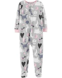 468584e2b New Carters 1-Piece Critter Animals Fleece Footed Pajamas Girl 3T 4T ...