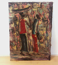 Afrikanisches Gemälde,Öl/Lw,,sign.,mid century, african tribal oil painting