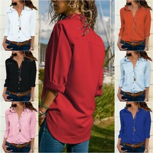 Womens-Ladies-Button-Up-V-Neck-Long-Sleeve-Tops-Shirt-Loose-Blouse-Casual-Shirts