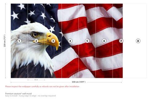 American Flag /& Bald Eagle Wall Mural Wallpaper WS-42545