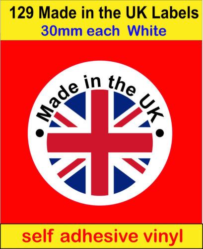 129 hecho en el Reino Unido Union Jack Bandera Pegatinas de vinilo en las etiquetas de tarjeta de vela de jabón