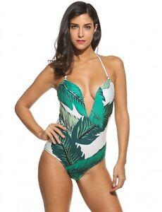 f88c93c056 mode mer maillot de bain une pièce monokini femme vert blanc dos nu ...