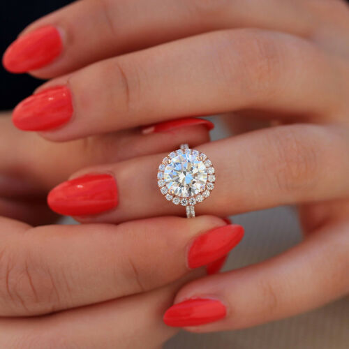 Delicate 1.80CT Round Cut Moissanite Halo Engagement Ring 14K Rose Gold Finish