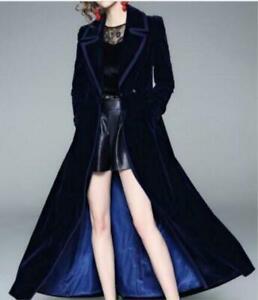 Women S Ladies Long Double Ted, Velvet Trench Coat For Ladies