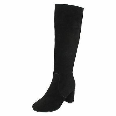 Ladies Leather Collection Black Suede Leather Knee High Boots Style F50536