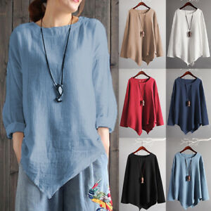 9cfa7c72ba4 Womens Autumn Boho Cotton Linen Top Casual Asymmetric Blouse T Shirt ...