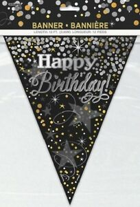 12ft-Black-Gold-Silver-Flag-Banner-Bunting-Happy-Birthday-Party-Decoration-Adult