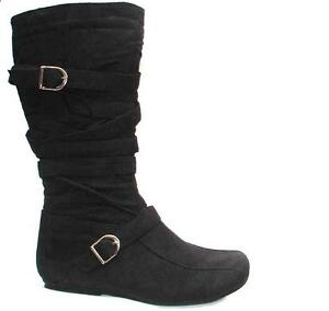 Women-039-s-Flat-Riding-Mid-Calf-Suede-Boots-Zip-Up-Winter-Ladies-Shoes-Size-D-412