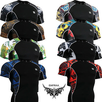 Fixgear men Compression skin tight shirt Base layer top MMA sport clothing S~4XL