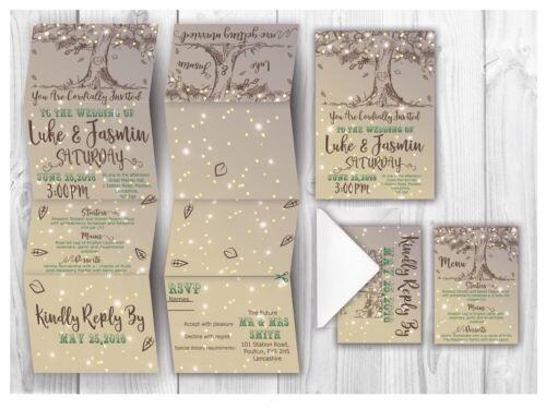 Evening Invitation Envelope Personalised HANDMADE Tree Wedding Day Invites