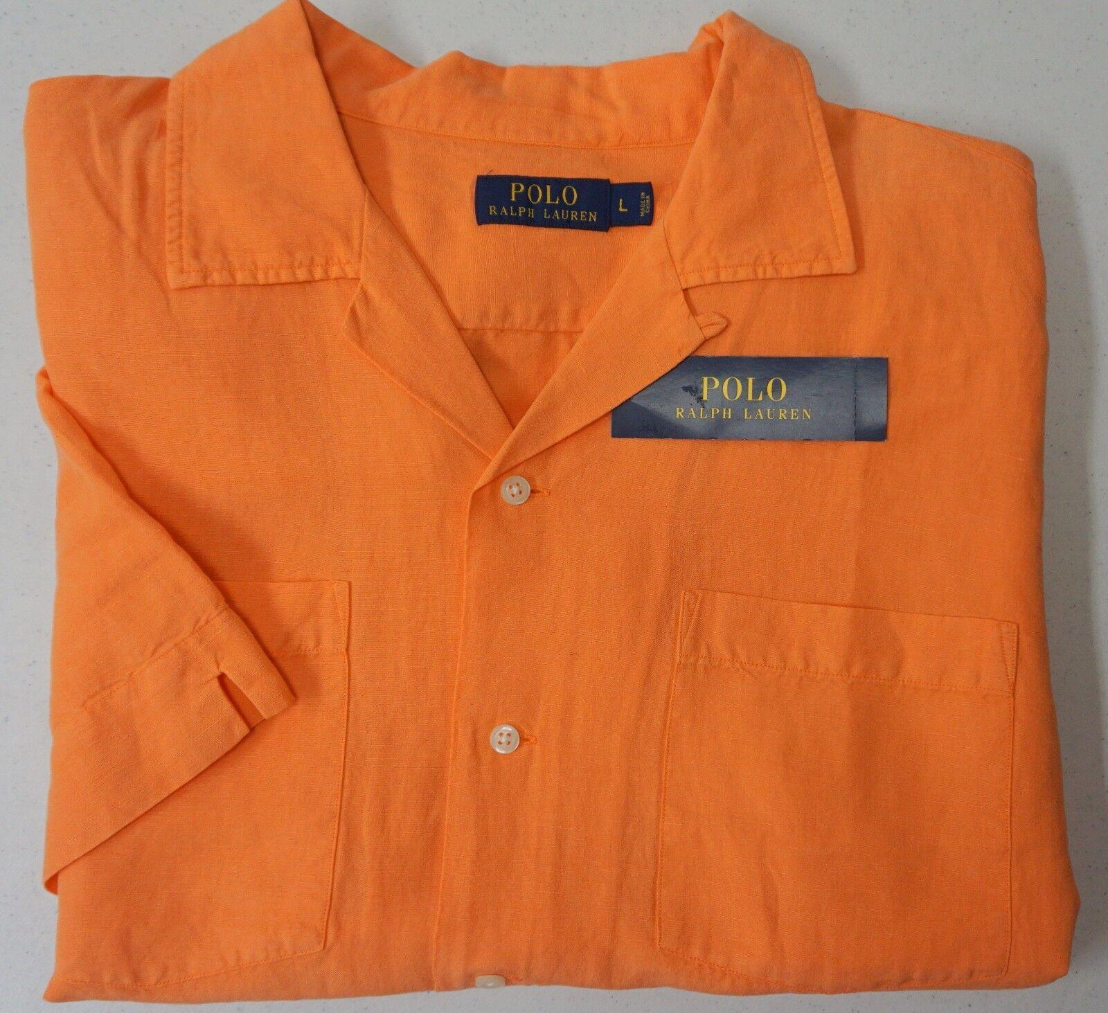 b42a452dfc6d NWT Polo Ralph Lauren Shirt LINEN   Silk Mens orange Button Short Sleeve NEW