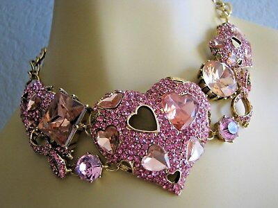 BETSEY JOHNSON ICONIC PINKALICIOUS CRYSTAL HEARTS & BOWS STATEMENT NECKLACE~RARE