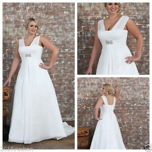 White Ivory Chiffon Plus Size Wedding Dress Bridal Gown Custom 16 18 20 22 24 26