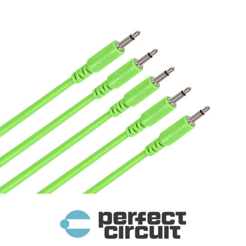 """LMNTL 12/"""" 3.5mm Eurorack Modular Synth Patch CABLE 5 PACK GREEN PCA"""