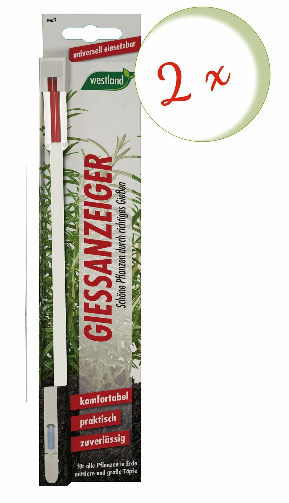 Savings Set: 2 X Westland Indicator For Flower Soil, 26 CM White