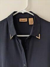 Wrangler Womens Blouse Top Black High Low Unique Western Style Shirt Sz Sm