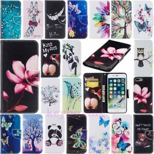 Patterned-Wallet-Leather-Skin-Flip-Phone-Case-Cover-For-iPhone-X-8-7-6-Plus-5s