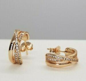 Authentic Pandora Rose gold Entwined Hoop Earrings 19774306 | eBay