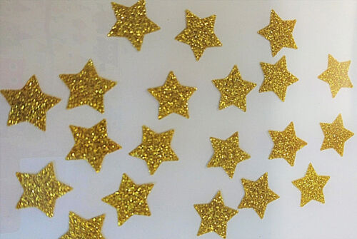 20 étoiles OR 1,5cm Flex thermocollant GLITTER GOLD BLING  hotfix
