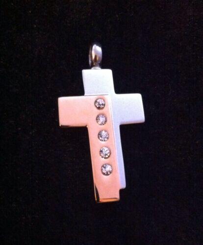 Argent /& or croix collier pendentif Crémation Mémorial Souvenir cendres