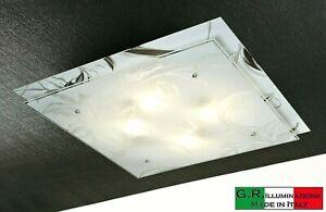 Plafoniera Soffitto Moderna In Vetro 4 Luci D55 Quadrata Soggiorno Bagno Qub Ebay