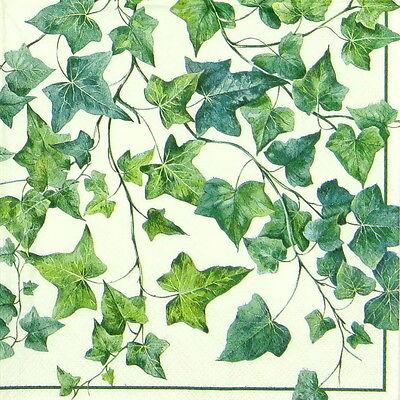 4x Paper Napkins for Decoupage Craft Vintage Ivy Ornaments