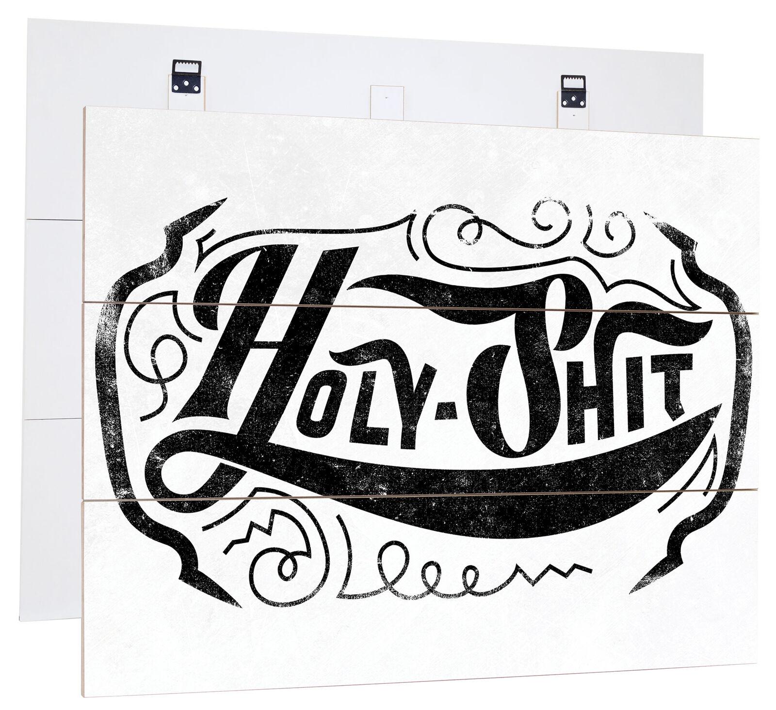 Holy Shit Lumière - Authentique Mdf-Holzbild Bretterlook, Panneau en Bois