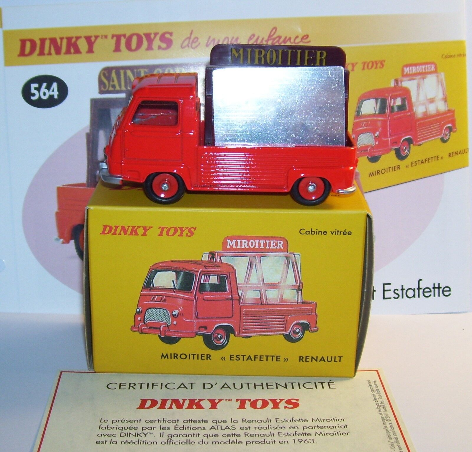 DINKY TOYS ATLAS PICK-UP RENAULT ESTAFETTE MIROITIER rosso 1 43 REF 564 EN BOX