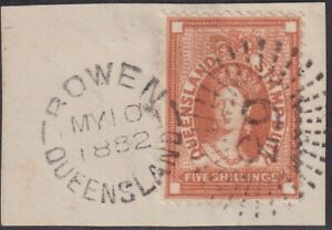 QLD-Postal-Fiscal-5s-orange-brown-tied-by-Rays-63-and-cds-of-BOWEN