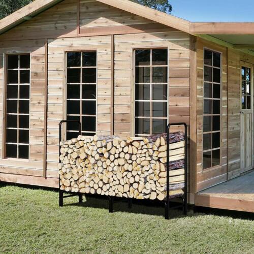 Outdoors 4ft//8ft Firewood Wood Log Rack Lumber Storage Holder Backyard Steel
