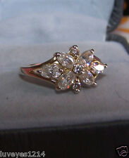 Ross Simons Marquise Cluster flower 14k Yellow gold/Sterling silver 925 Ring