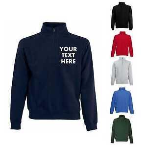 Fruit Of The Loom Mens Zip Neck Plain Sweatshirt//Sweater 7 Colours BC358